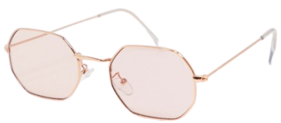Rose Gold Hexagon Shaped Sunglasses