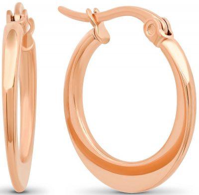 Rose Gold Plated Flat Hoop Earrings-Steeltime