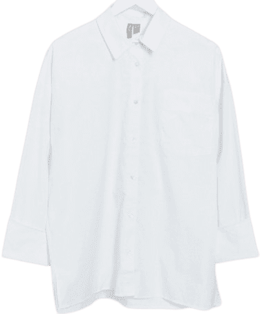 White Long Sleeve Oversized Dad Shirt