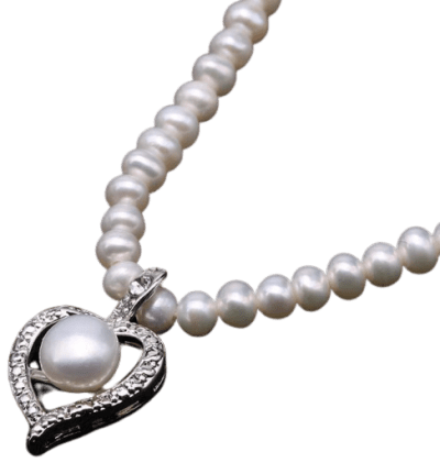 White Pearl With Heart Pendant Necklace
