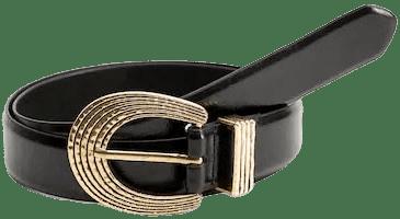Black Metal Buckle Belt-Mango