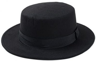 Black Wool Pork Pie Boater Flat Top Hat