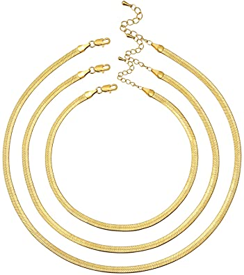 Gold 3pcs Layed Snake Chain Necklace-EASYSO