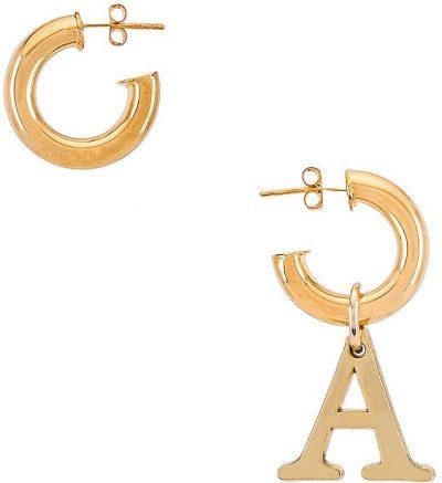 Gold Initial Huggies Earrings-Martha Calvo