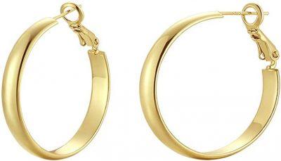 Gold Plated Hoop Earrings-ALLHOUR