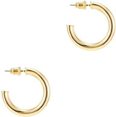 Gold Plated Hoop Earrings-PAVOI