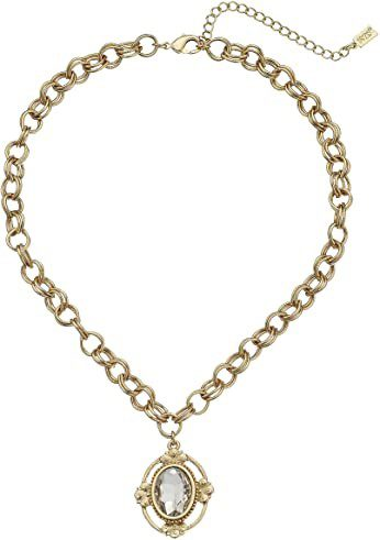 Gold-Tone Crystal Oval Pendant Necklace-1928 Jewelry