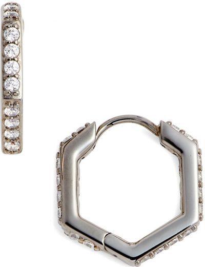 Silver Hexagon Huggie Earrings-Nadri