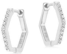 Silver Pave Hex Huggies Earrings-Missoma