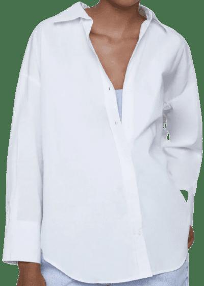 White Poplin Shirt-Zara