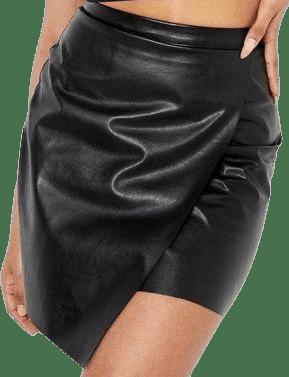 Black Faux Leather Skirt-Boohoo