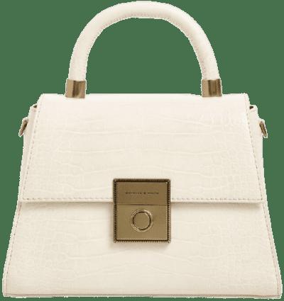 White Croc-Effect Bag-Charles & Keith