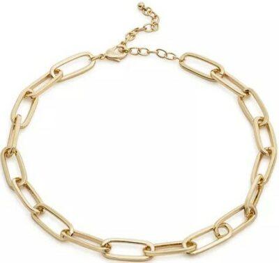 Gold Chain Link Necklace-Aqua
