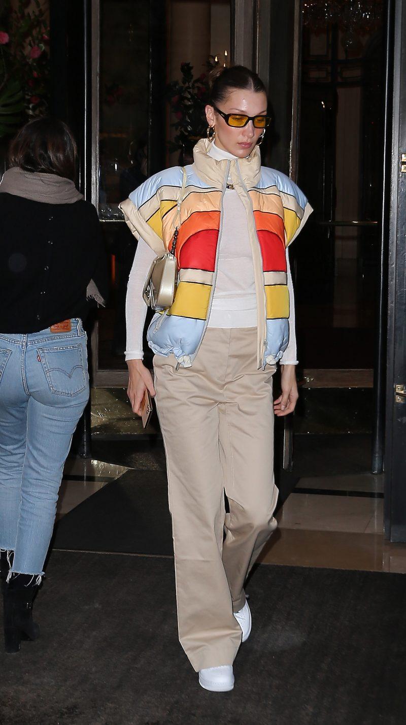 Bella Hadid seen leaving Hotel Plaza Athénée during Paris Fashion week Paris