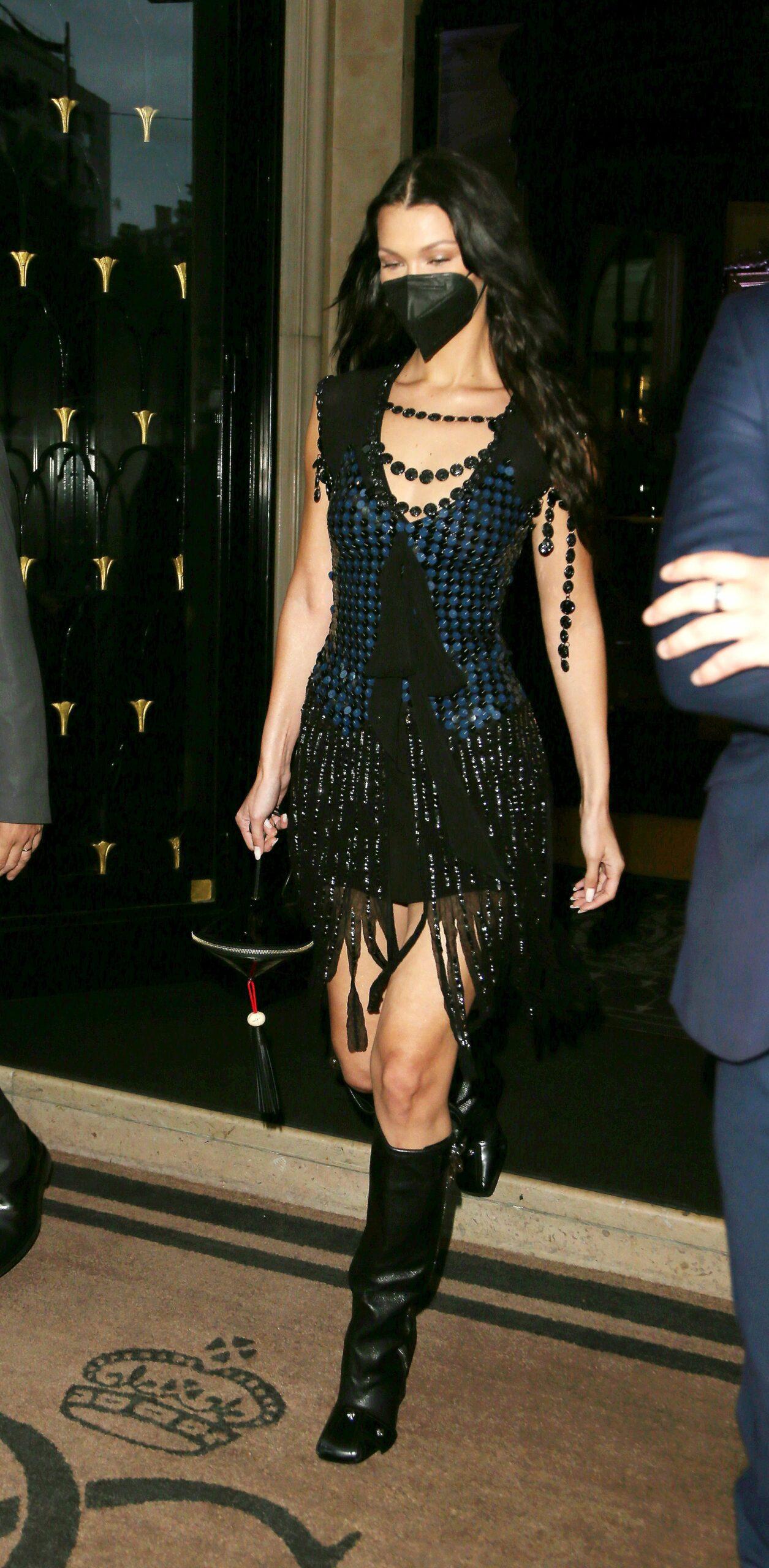 Bella Hadid seen at Four Seasons Hotel during Paris Fashion Week