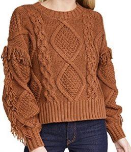 Amber Brown Jasper Fringe Sweater