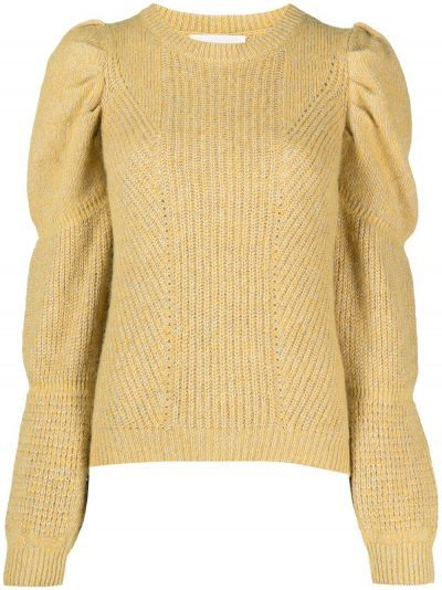 Amber Yellow Bale Puff-Sleeve Jumper-Ba&Sh