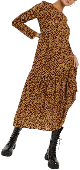 Animal Print Long Sleeve Tiered Midi Dress-Asos Design