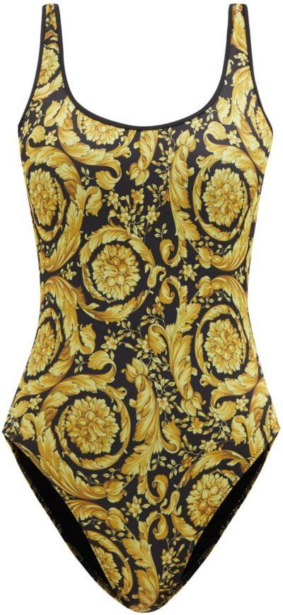 Baroque-Print Scoop-Back Swimsuit-Versace