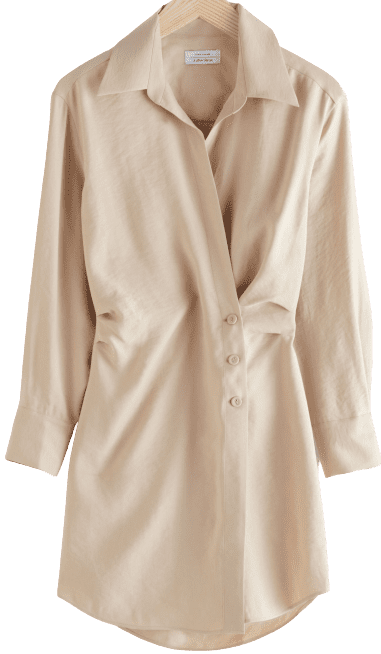 Beige Asymmetric Mini Shirt Dress-& Other Stories