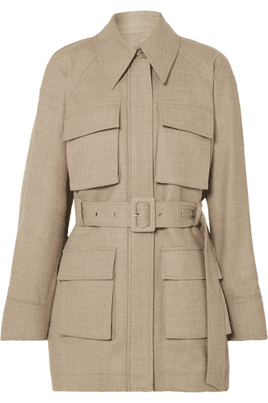 Beige Belted Mélange Wool Jacket