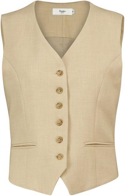Beige Button-Down Vest-Frankie Shop