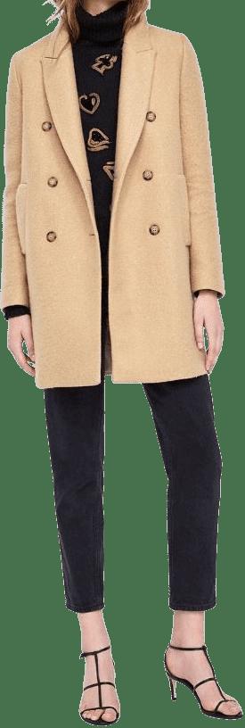 Beige Double Breasted Buttoned Coat-Zara