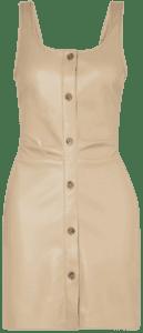 Beige Ernie Ruched Vegan Leather Mini Dress-Nanushka