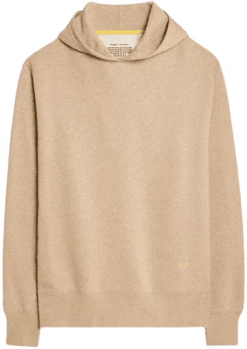 Beige French Terry Mélange Hoodie-Tory Burch