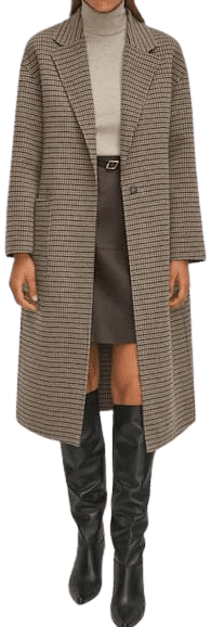 Beige Handcrafted Checked Wool Coat-Massimo Dutti