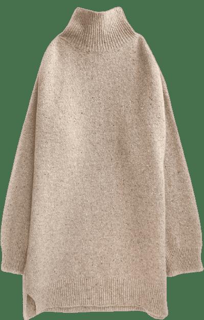 Beige High Neck Sweater