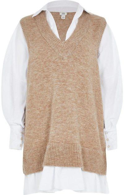 Beige Long Sleeve Hybrid Shirt Jumper Dress-River Island