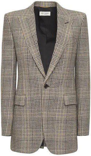Beige Noir Virgin Wool Prince Of Wales Jacket-Saint Laurent