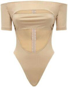 Beige Off-The-Shoulder Jersey Bodysuit-Mugler