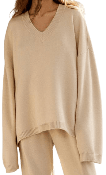 Beige Oversize Merino Wool Jumper