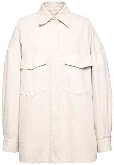 Beige Oversized Cotton Denim Shirt Jacket-The Attico