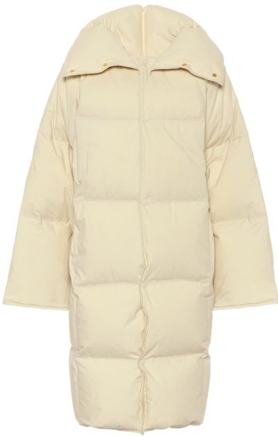 Beige Quilted Cotton Down Puffer Coat