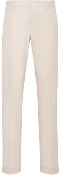 Beige Slim-Fit Washed Cotton Trousers-Prada