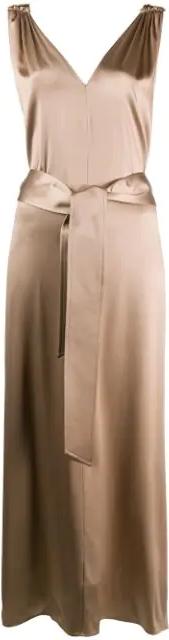 Beige Tie Waist Midi Dress
