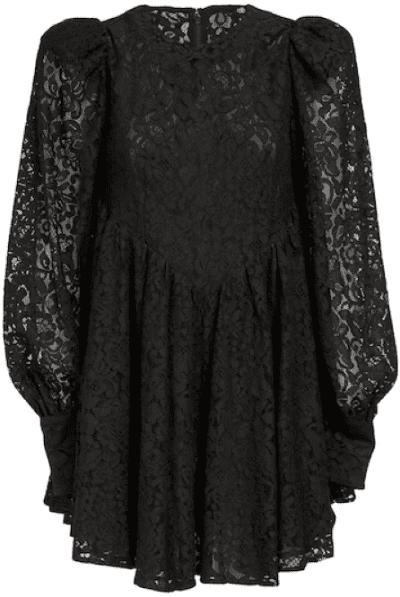 Black Alison Cotton Blend Lace Mini Dress