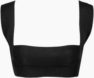 Black Amanda Knit Square Neck Bikini Top-Haight