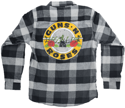 Black And White Logo Flannel Blouse-Guns N Roses
