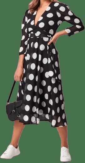Black And White Polka Dot Midi Dress-Forever Unique