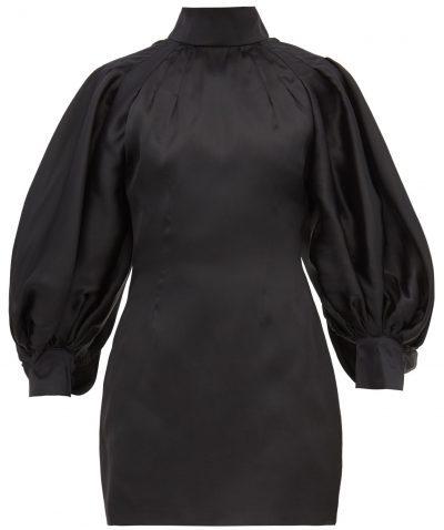 Black Balloon-Sleeve Silk-Organza Mini Dress