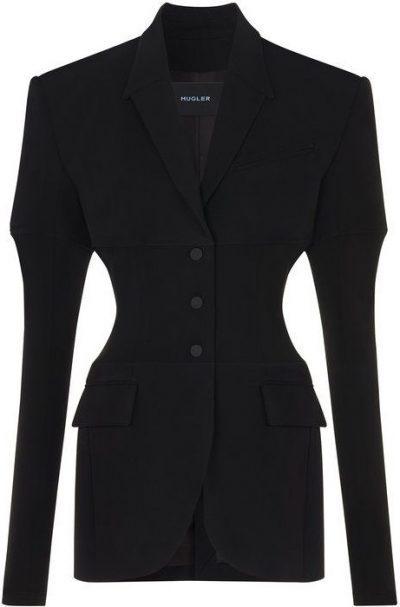 Black Bi-Material Structured Jacket-Mugler
