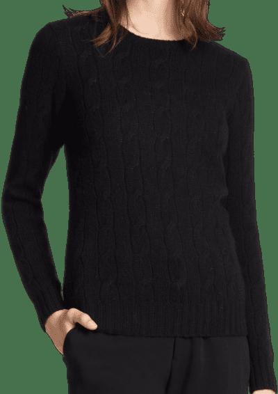 Black Cable Knit Sweater-Ralph Lauren