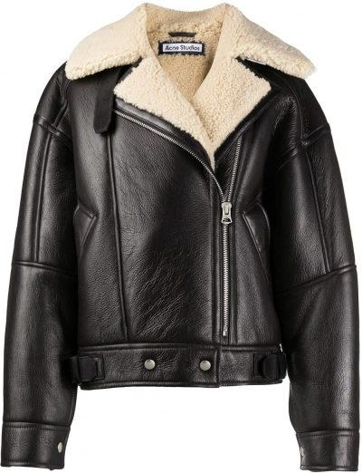 Black Calf Leather And Shearling Flight Jacket-Acne Studios