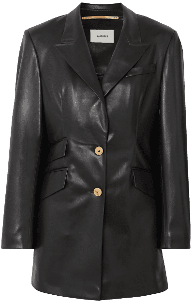 Black Cancun Vegan Leather Blazer