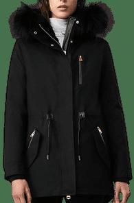Black Chara Fur-Lined Parka With Silverfox Fur Trim-MACKAGE