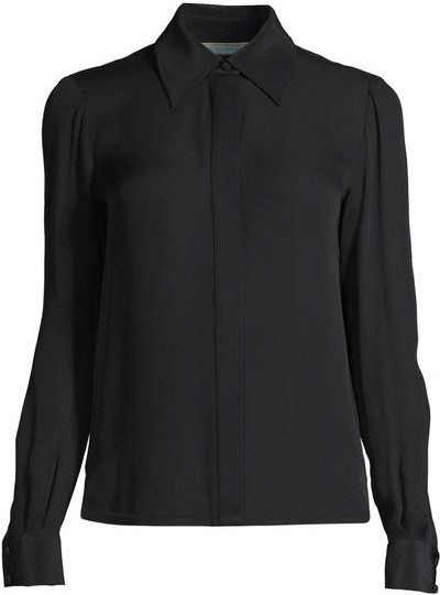 Black Collared Neck-Tie Blouse